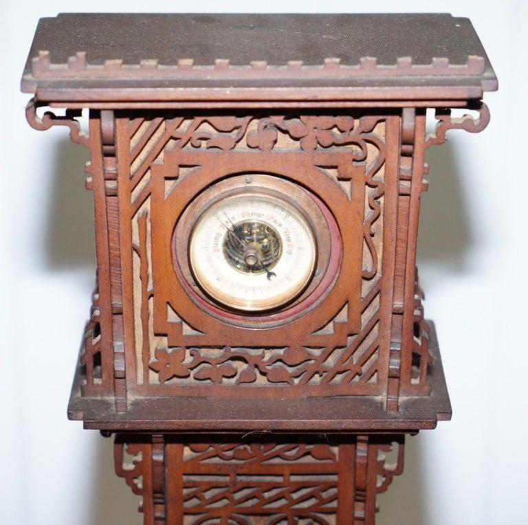 Rare Tall 19th Century Continental Walnut Fret Carved Barometer Oriental For Sale 1