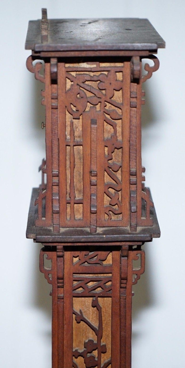 Rare Tall 19th Century Continental Walnut Fret Carved Barometer Oriental For Sale 3