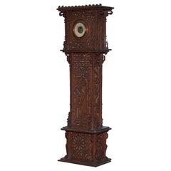 Rare Tall 19th Century Continental Walnut Fret Carved Barometer Oriental