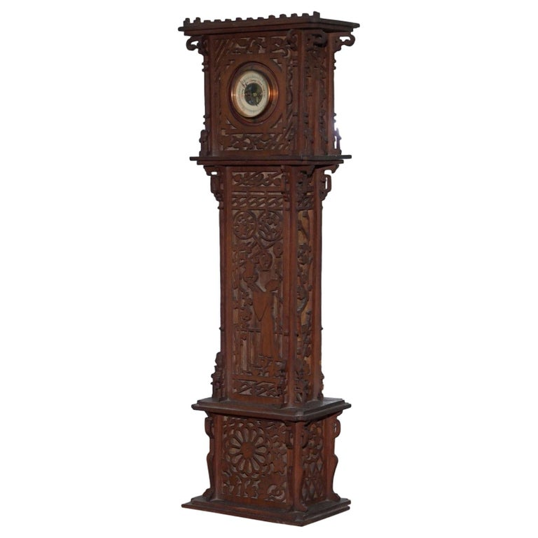 Rare Tall 19th Century Continental Walnut Fret Carved Barometer Oriental For Sale