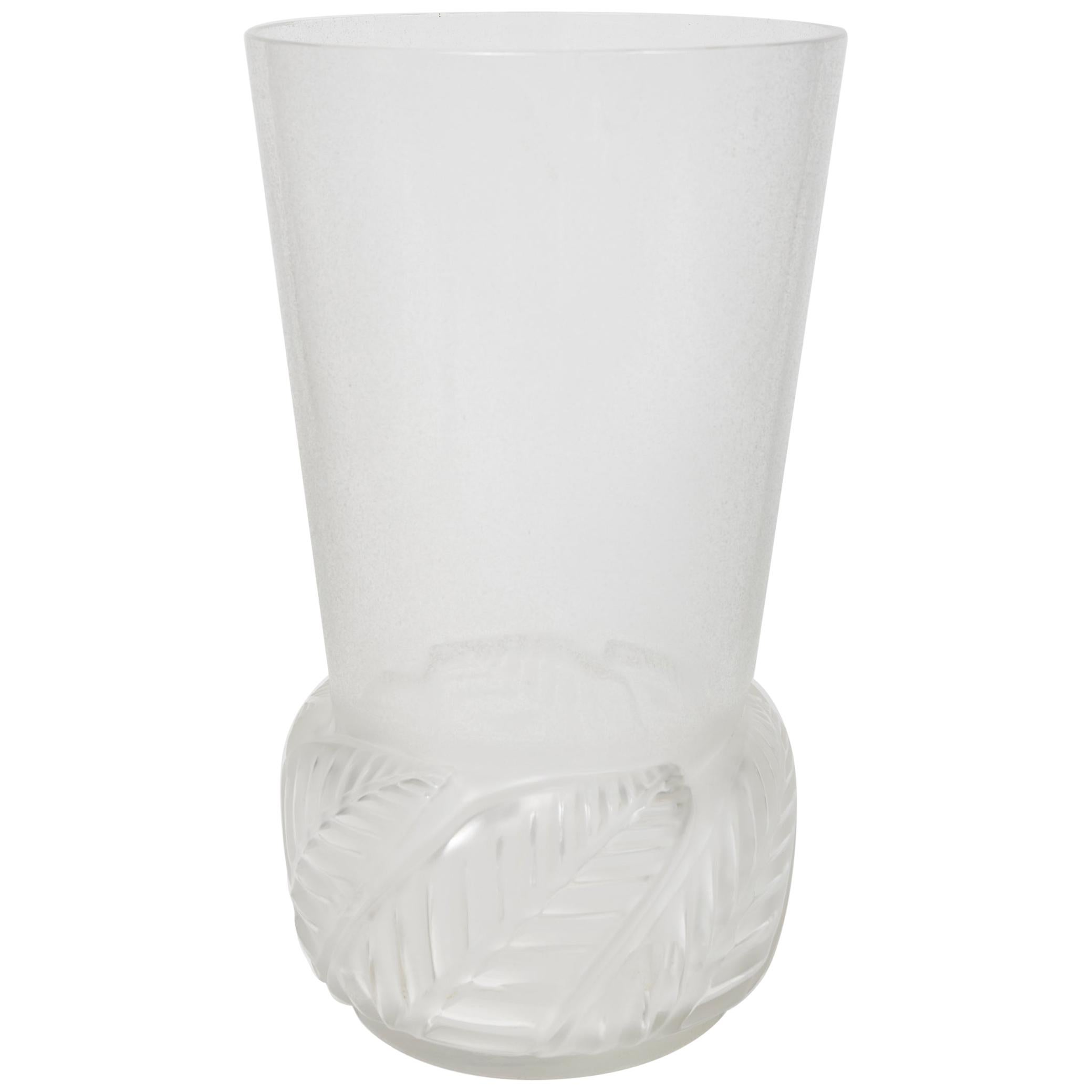 """Rare Tall Frosted Glass Vase """"Floride"""" by René Lalique"""