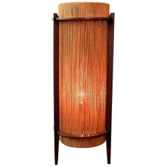 Rare Teak and Hemp String Floor Lamp by Ib Fabiansen for Fog & Mørup, 1950s