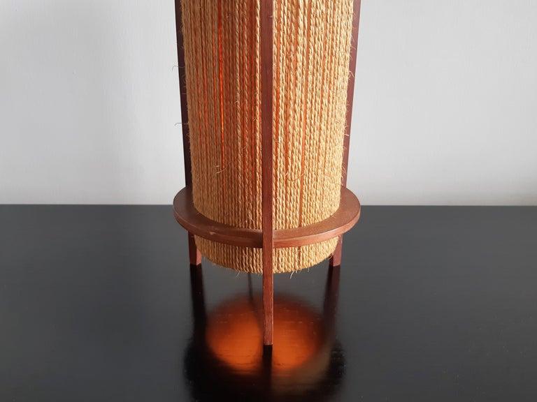 Danish Rare Teak and Hemp String Table Lamp by Ib Fabiansen for Fog & Mørup of Denmark For Sale