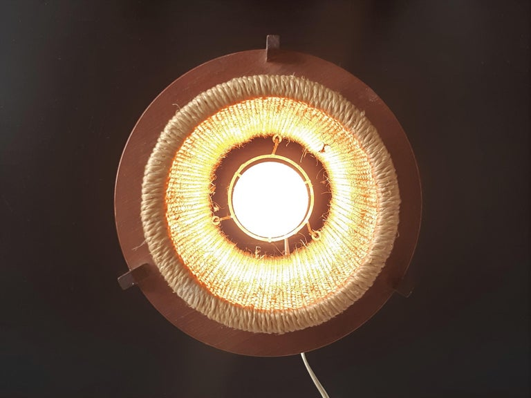 Rare Teak and Hemp String Table Lamp by Ib Fabiansen for Fog & Mørup of Denmark In Good Condition For Sale In Steenwijk, NL
