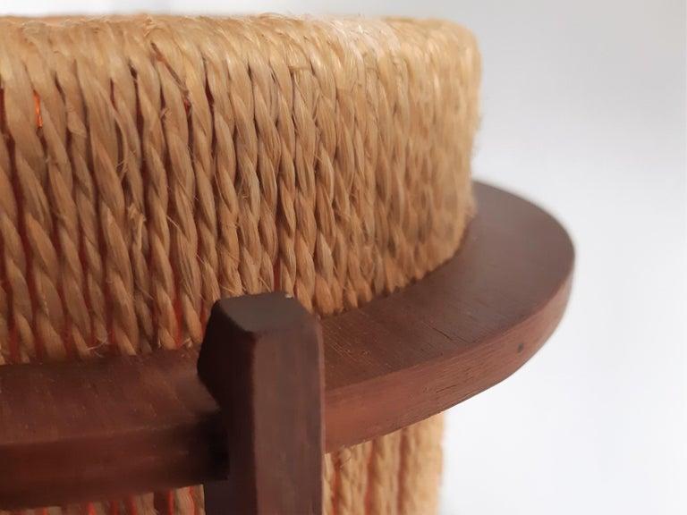 Mid-20th Century Rare Teak and Hemp String Table Lamp by Ib Fabiansen for Fog & Mørup of Denmark For Sale