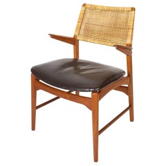 Rare Teak, Leather and Cane Model 48 Armchair, E. Knudsen, Denmark 1950s