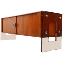 Rare Teak Sideboard with Smoke Lucite Side Parts and Sliding Tambour Doors