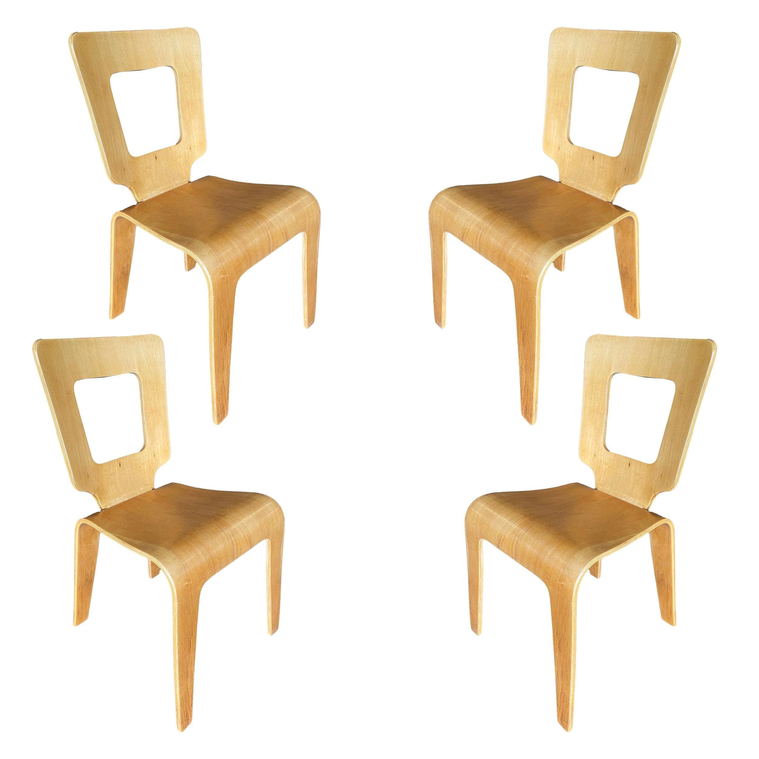 Rare Thaden-Jordan Furniture Bent Plywood Side Chairs, Set of 4