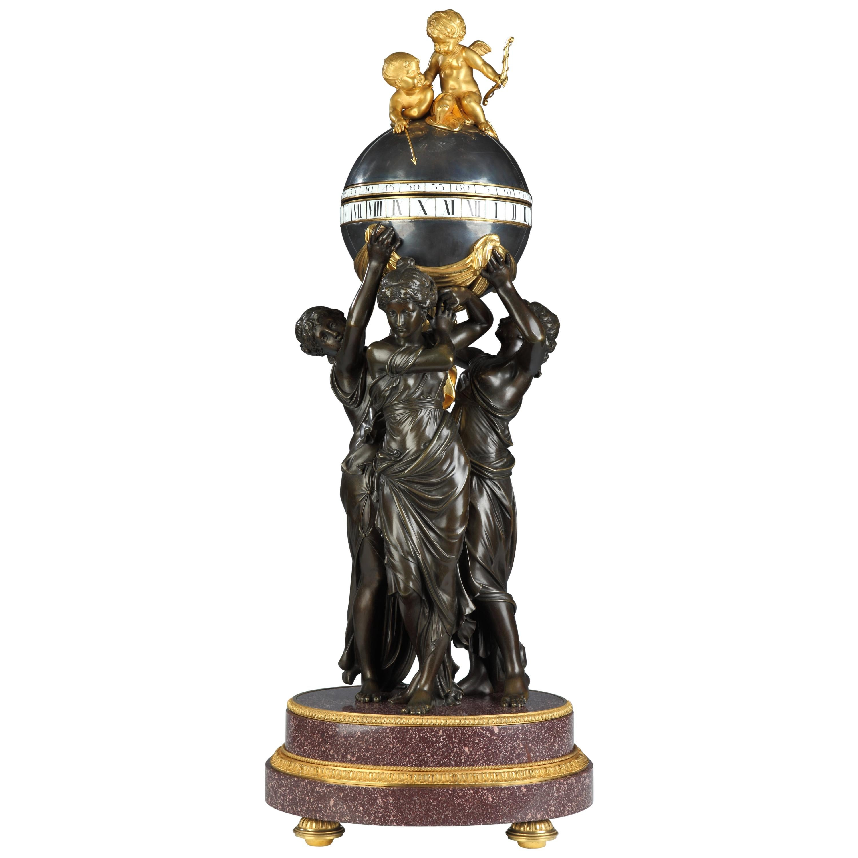 "Rare ""The Three Graces"" Clock Attributed to H. Dasson, France, Circa 1880"