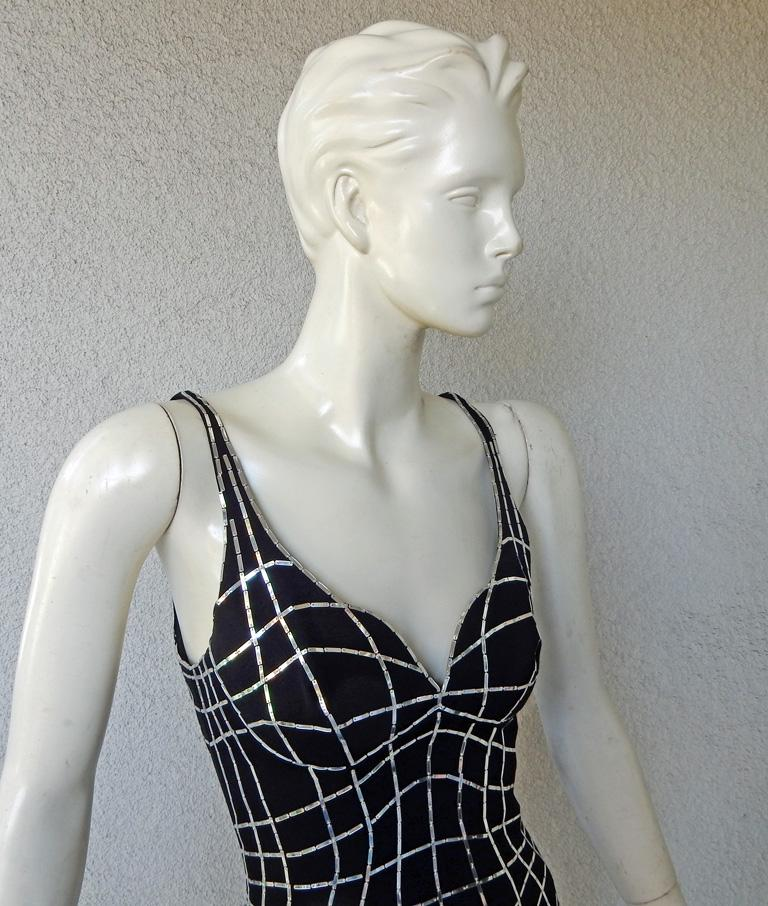Rare Thierry Mugler Couture Vintage Form Fitting Evening Dress In Excellent Condition For Sale In Los Angeles, CA