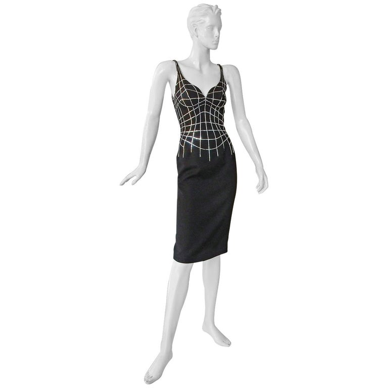Rare Thierry Mugler Couture Vintage Form Fitting Evening Dress For Sale