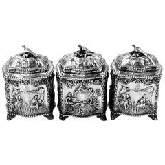 Rare Three Piece Antique Georgian Silver Tea Caddy Sugar Box Set, 1769