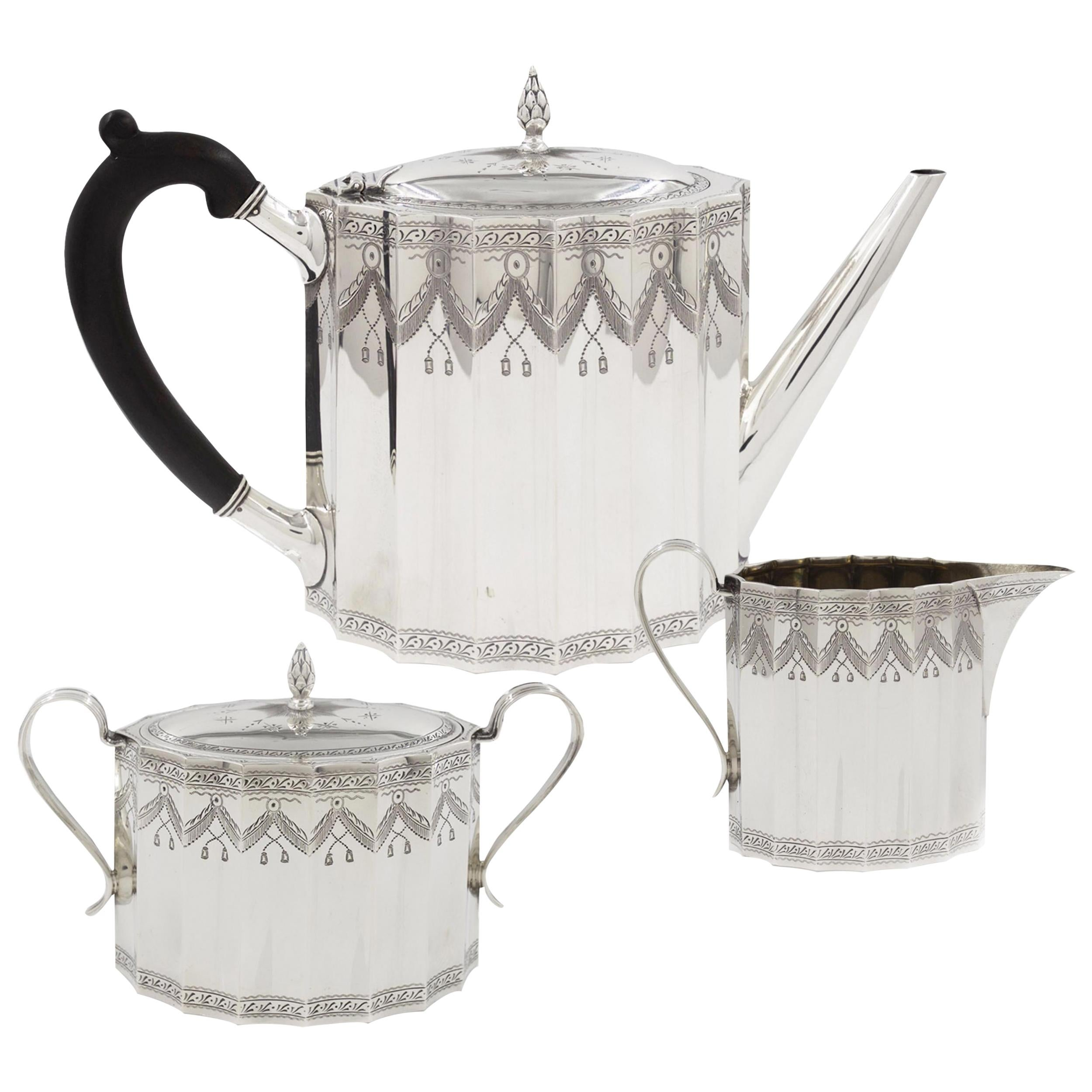 Fine Gorham Co. Sterling Silver Tea Coffee Service Set, 20th Century