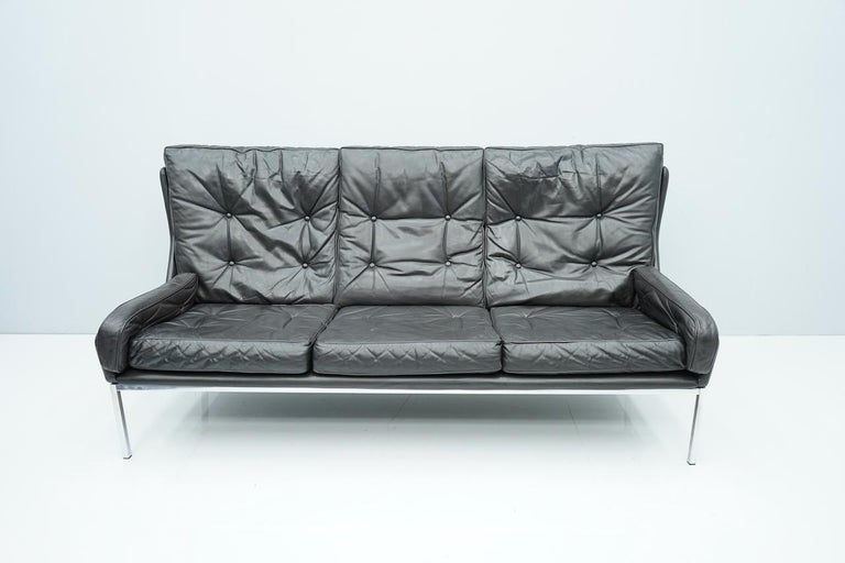 Rare Three-Seat Sofa by Roland Rainer in Black Leather, 1960s For Sale 4