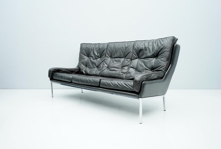 Austrian Rare Three-Seat Sofa by Roland Rainer in Black Leather, 1960s For Sale