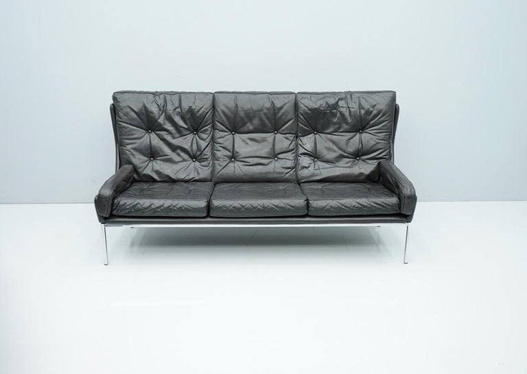 Rare Three-Seat Sofa by Roland Rainer in Black Leather, 1960s For Sale 3