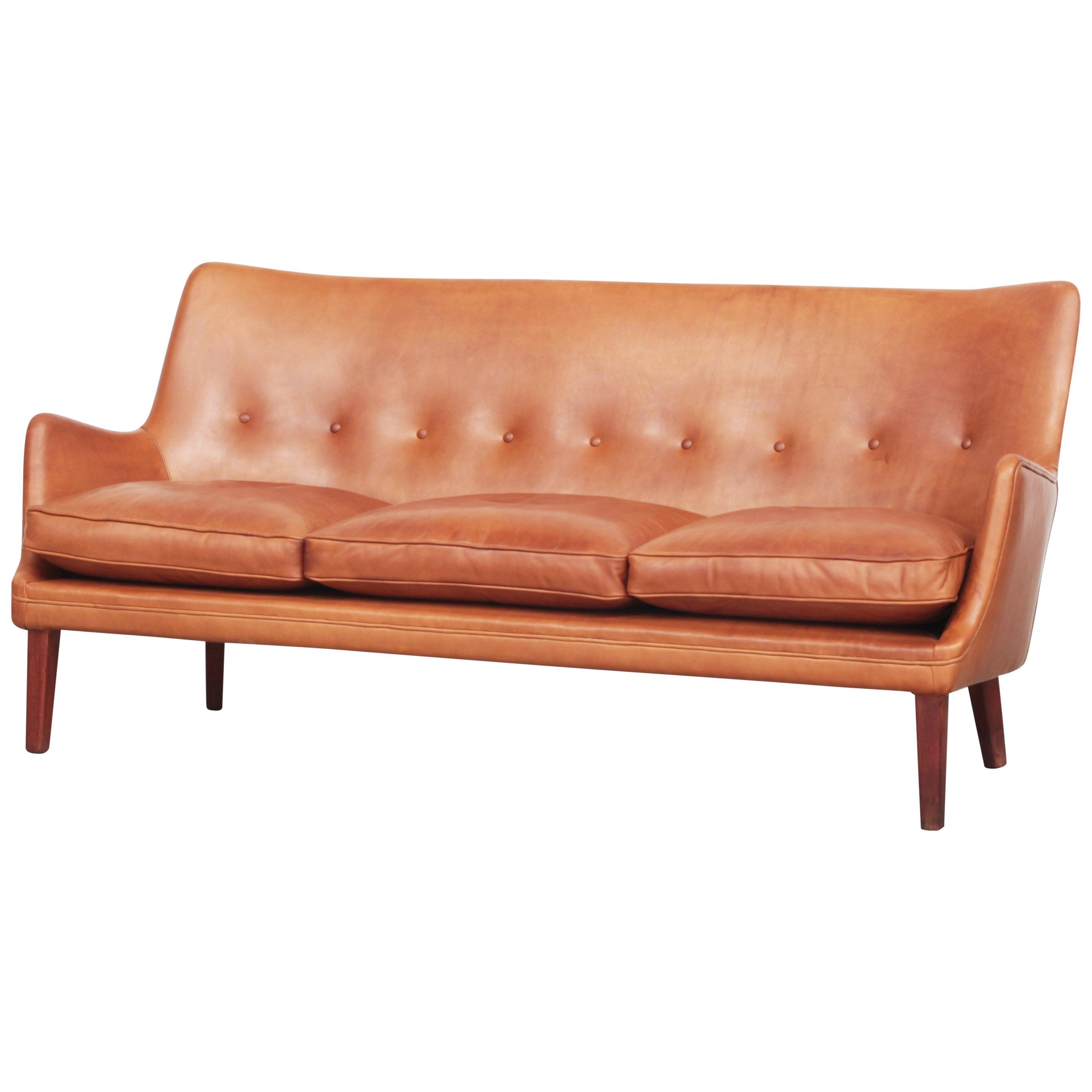 Rare Three-Seat Sofa by Arne Vodder for Ivan Schlechter, Denmark, 1953