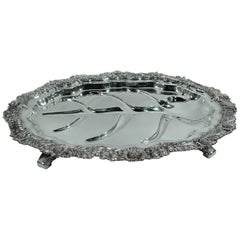 Rare Tiffany Chrysanthemum Sterling Silver Well & Tree Meat Platter