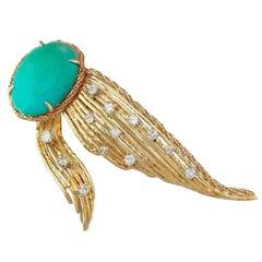 Rare Tiffany & Co. 18 Karat Gold Turquoise 0.92 Carat Diamond Brooch Pin Pendant