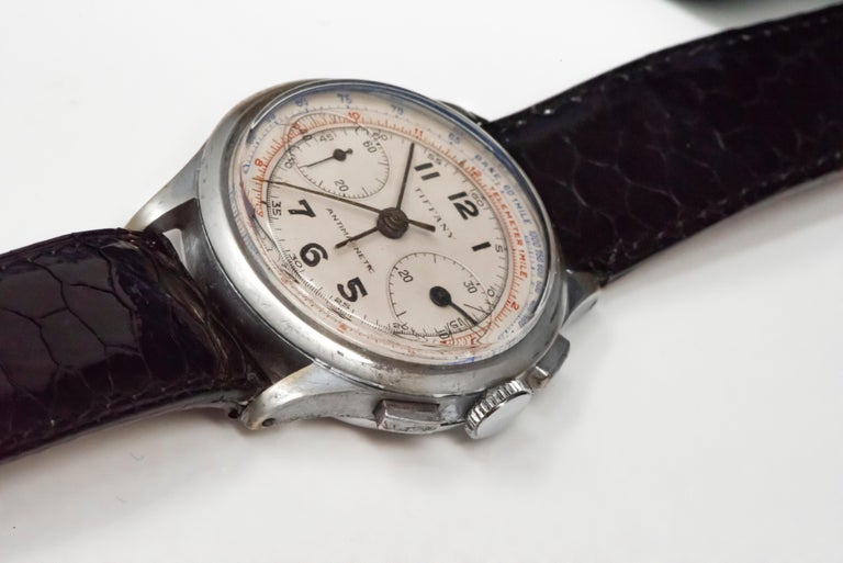 Rare Tiffany & Co. Chronograph Telemeter Stainless Steel Aviation Wristwatch For Sale 1