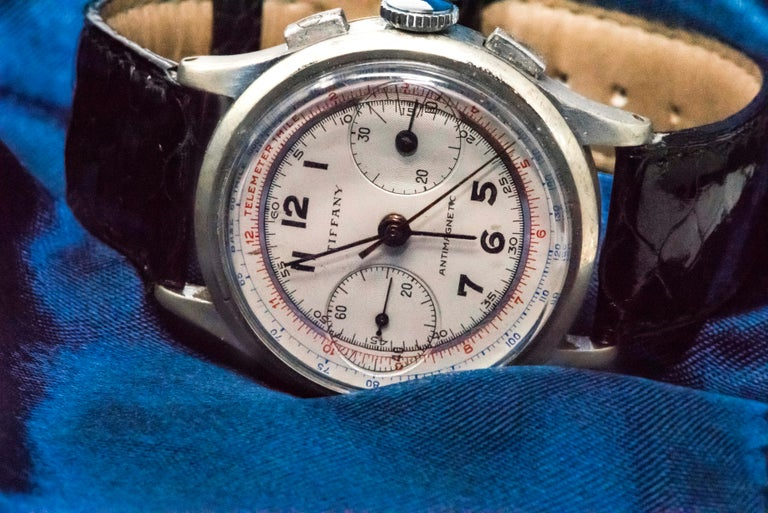 Rare Tiffany & Co. Chronograph Telemeter Stainless Steel Aviation Wristwatch For Sale 2