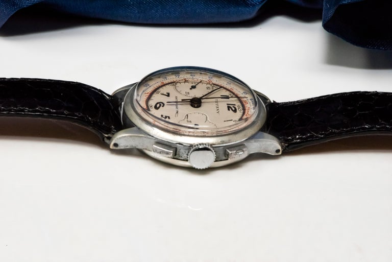 Rare Tiffany & Co. Chronograph Telemeter Stainless Steel Aviation Wristwatch For Sale 5