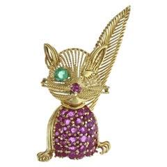 Tiffany & Co. Retro 5.45 CTW Ruby Emerald 18K Cat Brooch