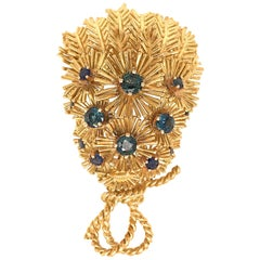 Rare Tiffany & Co. Vintage 18 Karat Yellow Gold Sapphire Bouquet Brooch