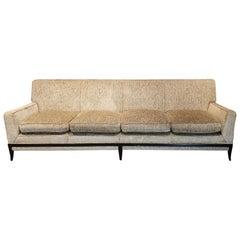 Rare Tommi Parzinger Four-Seat Midcentury Sofa with Sabre Legs, 1950s