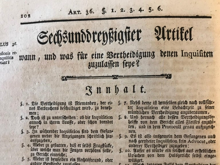 Mid-18th Century Rare Torture and Law Book, Constitutio Criminalis Theresiana, 1769 For Sale
