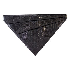 Rare Triangular Black Clutch Bag by Gianni Versace Couture 1980