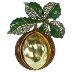 Rare Trifari Pearl Belly Chestnut Brooch