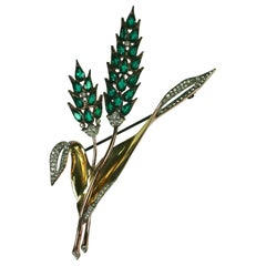 Rare Trifari Retro Wheat Brooch