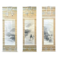 Rare Triptych Scroll Paintings by Watanabe Seitei Meiji Period