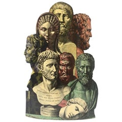 "Rare ""Trompe Oeil"" Metal Umbrella Stand with Roman Figures by Piero Fornasetti"
