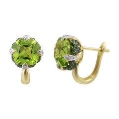 Rare Tsavorite Chrysolite Diamond Yellow Gold Earrings