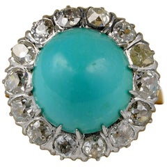 Rare Turquoise 2.80 Carat Old Diamond Platinum Gold Ring