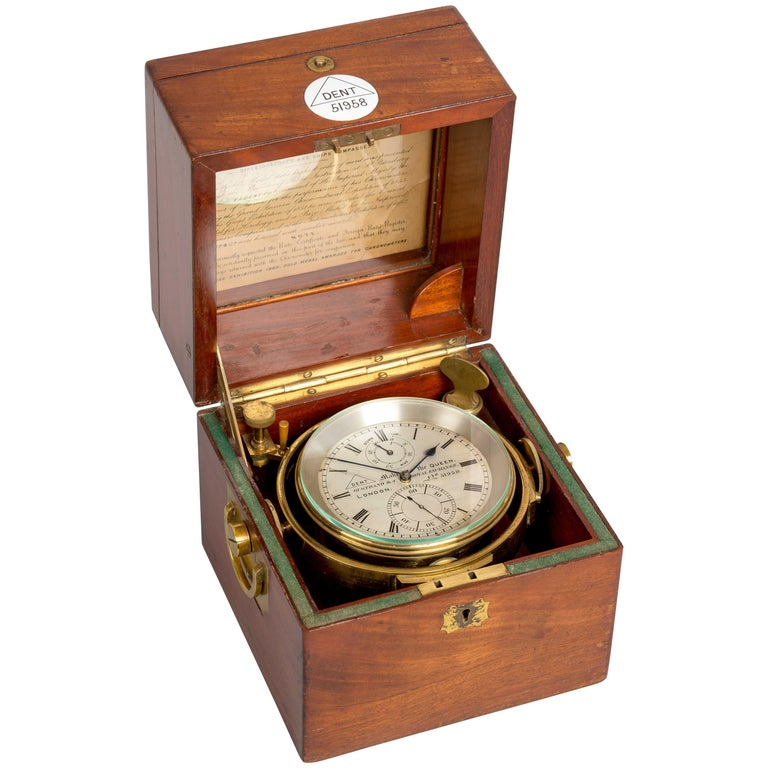 Rare Mahogany Cased Two Day Marine Chronometer by Dent of London No.51958