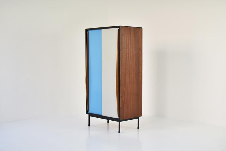 Mid-20th Century Rare Two-Tone Cabinet by Willy Van Der Meeren for Tubax, Belgium, 1952 For Sale