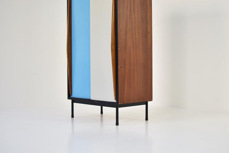 Metal Rare Two-Tone Cabinet by Willy Van Der Meeren for Tubax, Belgium, 1952 For Sale