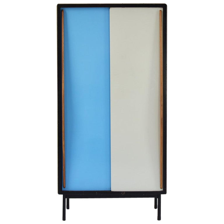 Rare Two-Tone Cabinet by Willy Van Der Meeren for Tubax, Belgium, 1952 For Sale