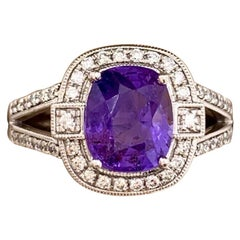 Rare Unheated Color Change Sapphire and Diamond 2.86 Carat Orianne Plat Ring GIA