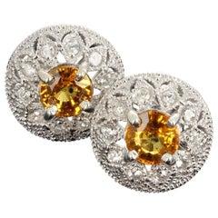 Rare Unique 2.2 Carat Songea Sapphire and Diamond Earrings