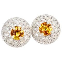 2.2 Carat Songea Sapphire and Diamond Earrings