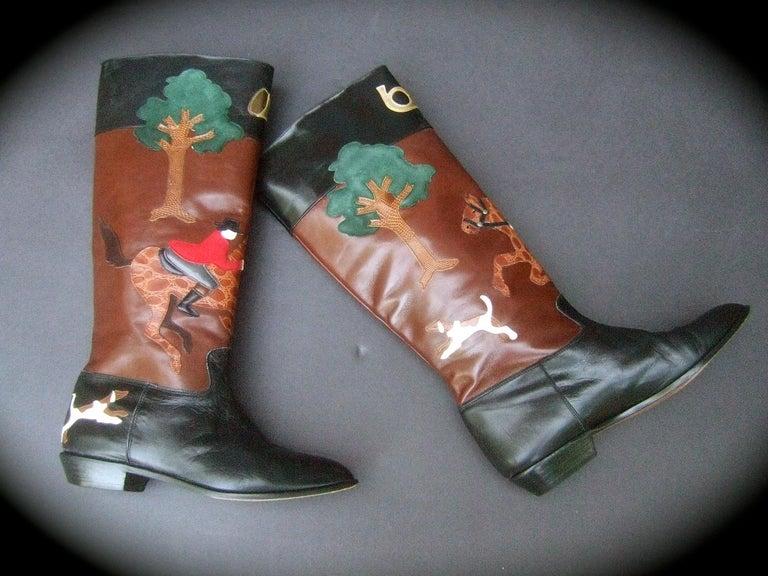 Rare Unique Hunt Scene Leather & Suede Appliqué Boots US Size 9 M c 1990 For Sale 6