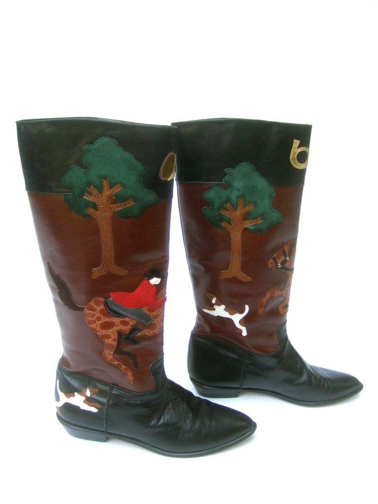 Rare Unique Hunt Scene Leather & Suede Appliqué Boots US Size 9 M c 1990 For Sale 7