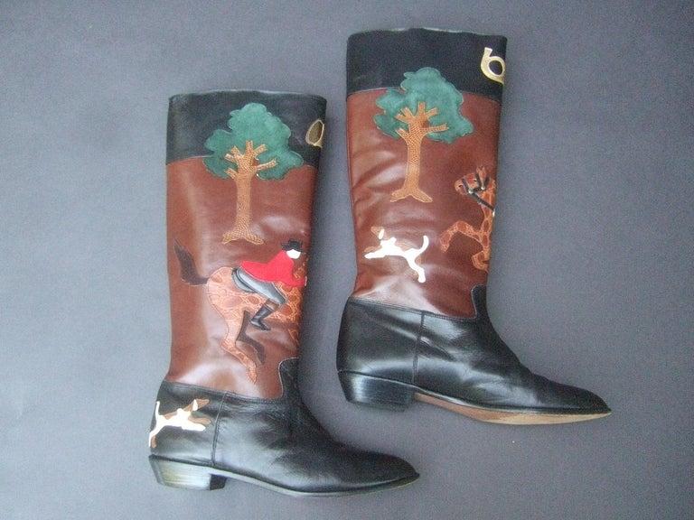 Rare Unique Hunt Scene Leather & Suede Appliqué Boots US Size 9 M c 1990 For Sale 8