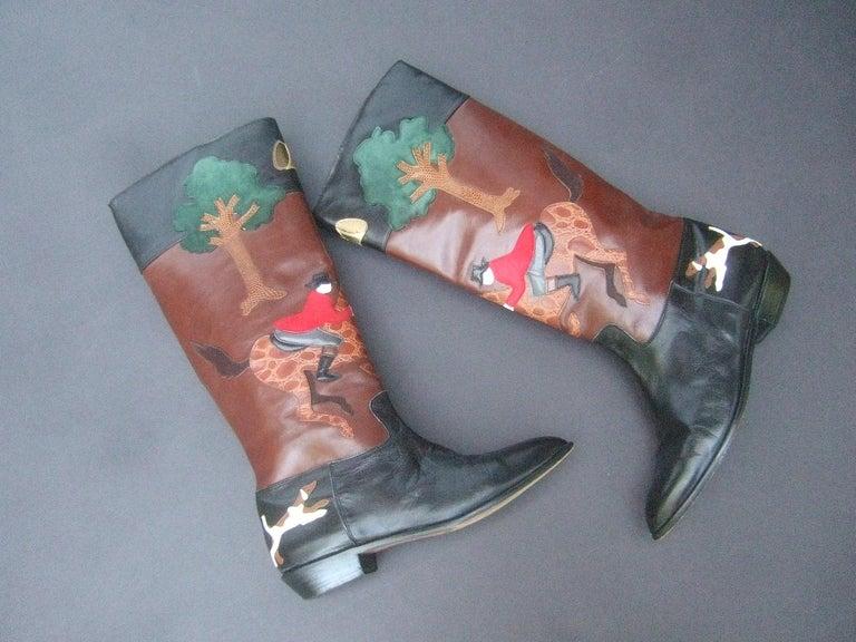 Rare Unique Hunt Scene Leather & Suede Appliqué Boots US Size 9 M c 1990 For Sale 9