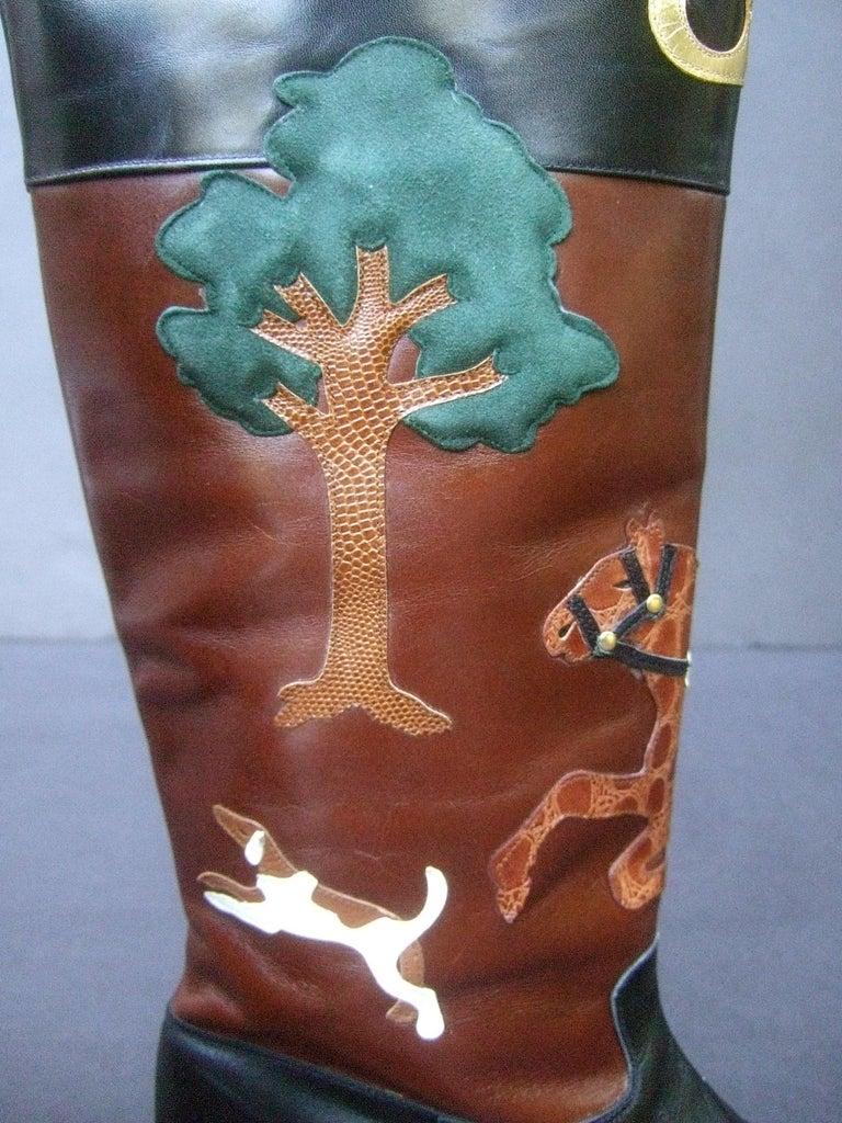Rare Unique Hunt Scene Leather & Suede Appliqué Boots US Size 9 M c 1990 For Sale 10