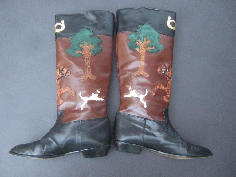 Rare Unique Hunt Scene Leather & Suede Appliqué Boots US Size 9 M c 1990 For Sale 11